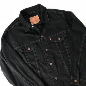 Black Levi's denim jacket.
